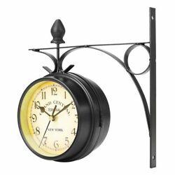 Wall Mount Station Clock Garden Vintage Retro Home Decor Metal Frame Glass Watch