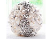 Exquisite crystal encrusted wedding bouquets- NEW