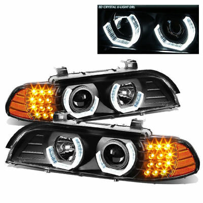 ALPINE COACH 2000 2001 2002 BLACK PROJECTOR LIGHTS HEADLIGHTS HEAD LAMPS RV PAIR