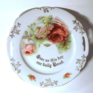 "Vintage Cake Plate ""Give us this day our daily bread"""