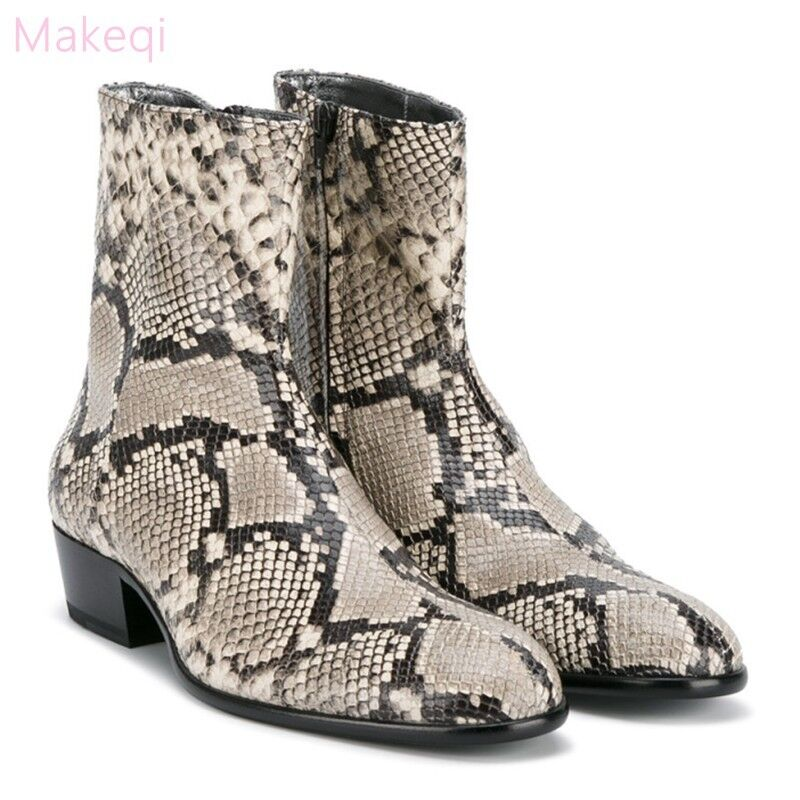 Western, Cowboy, , Mens, SnakeSkin, Leather, Combat, Military, , Zip, Mid, Calf, Boots, Shoe