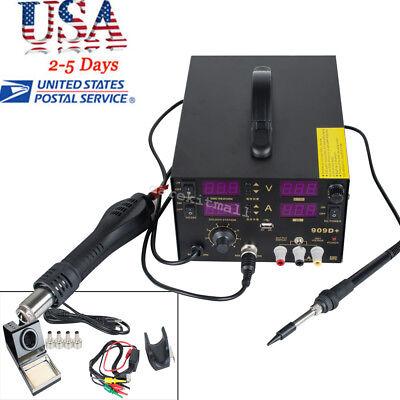 4in1 Rework Soldering Station Hot Heat Air Gun 800w 909d Power Supply Weldingce