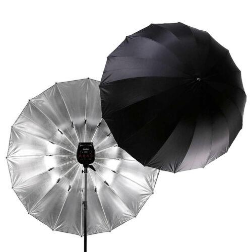 "Studio 75"" / 180cm Large Black Silver Reflective Umbrella for Flash Light Strobe"