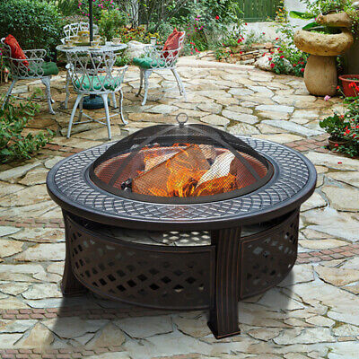 Round Steel Fire Burning Fire Pit Firepit Heater BBQ Brazier Grill Bowl Outdoor