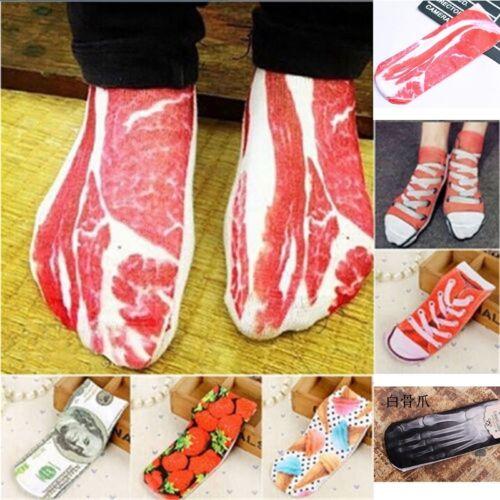 Modisch 3D Motivsocken Lustig Damen Mädchen Sneaker Socken Füßlinge Geschenk