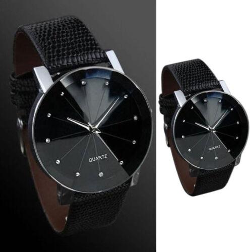 Ultradünn RundUhr Lässige Armbanduhr Analog Business Schwarz Anthrazit für Damen