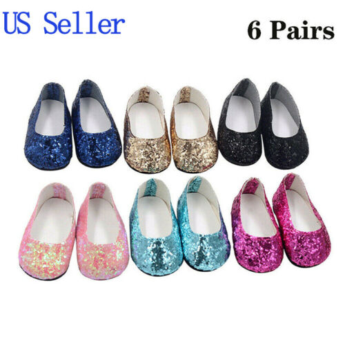"""6 Pairs Modern Doll Shoes Sparkle Sequined Shoes For 18"""" Doll Kids Gift"""