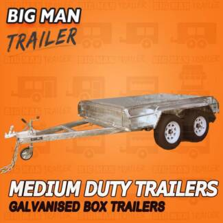 8X5 NO CAGE ☒ 2000KG TANDEM AXLE TRAILERS GALVANISED BRAKED