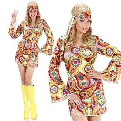 60er 70er Jahre DISCO GIRL KLEID Hippie Damen Kostüm Retro - Karneval Fasching ()