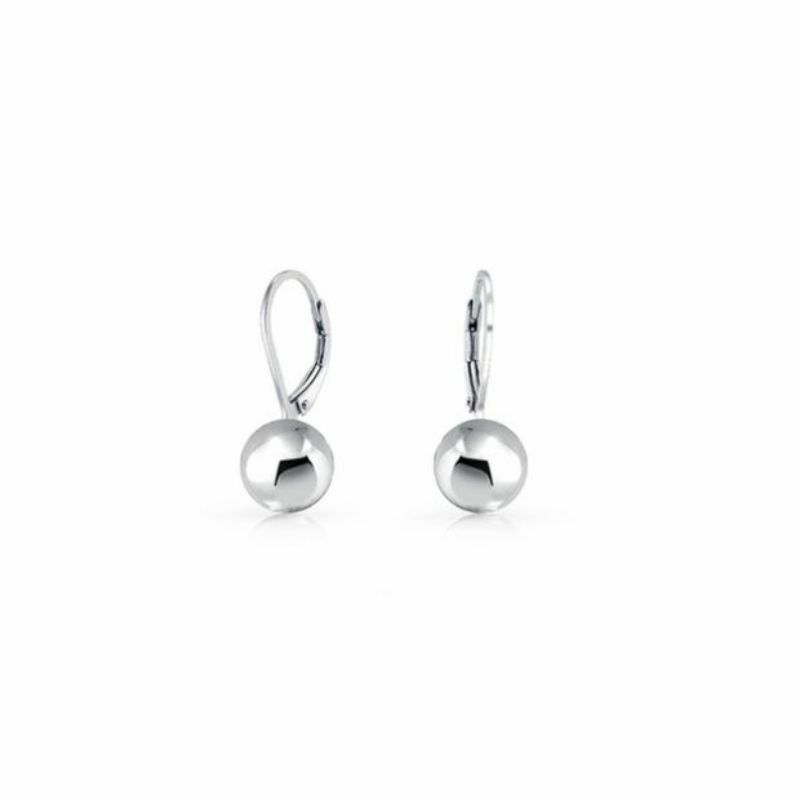 Solid Sterling Silver 5mm Leverback Ball Earrings