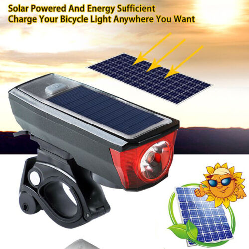 USB Rechargeable Bicycle Bike Front Light W//Horn Solar Powered Cycling Headlight