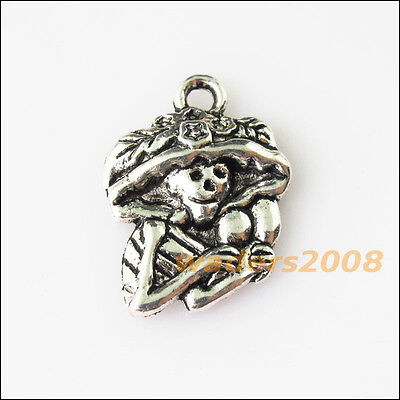 15 New Halloween Leaf Skull Tibetan Silver Tone Charms Pendants 14x20mm