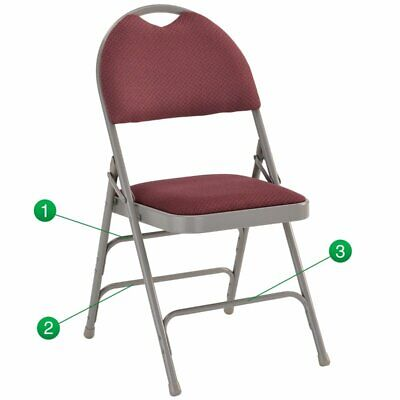 Flash Furniture Hercules Padded Metal Folding Chair In Burgundy And Gray