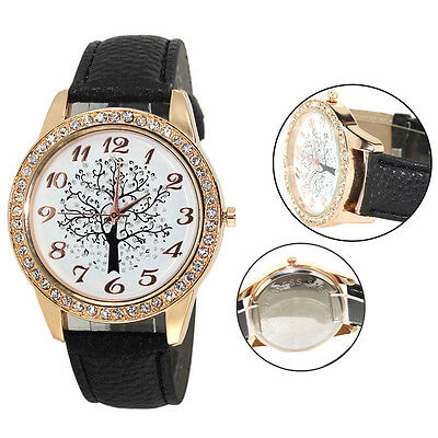 Women Xmas Tree Uniex Rhinestone Leather Analog Quartz DRESS Wrist Watch