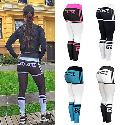 Usa Women High Waist Yoga Fitness Leggings Running Gym Sports Pants Trousers Yy