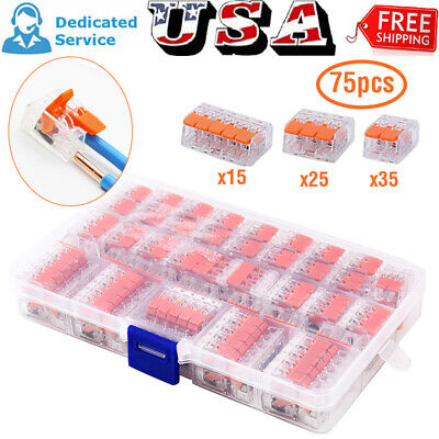 75pcs Boxed 2 3 5 Reusable Electrical Connectors Wire Cable Block Clamp Terminal