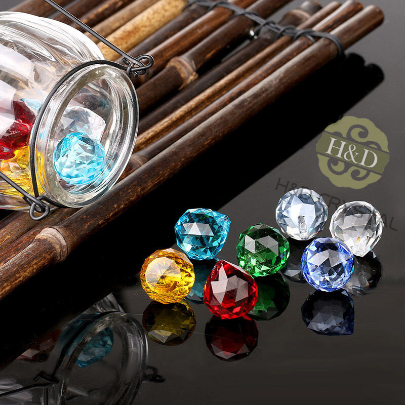 Set 8 Crystal Glass Chandelier Light Ball Prisms Suncatcher Drops Pendants 20MM