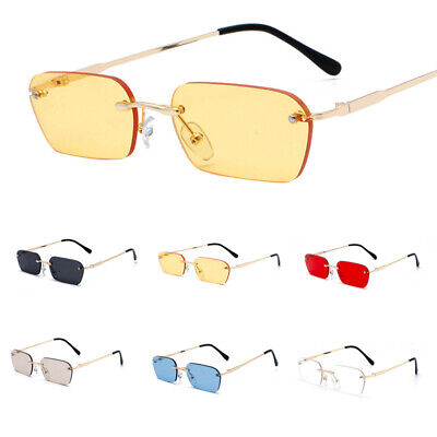 Small Rectangle Slim Rimless Shade Sunglasses Men Women Designer Minimal (Rimless Sunglasses For Men)