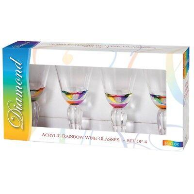 NEW MERRITT DIAMOND RAINBOW 12OZ ACRYLIC WINE GLASSES GIFT SET OF FOUR