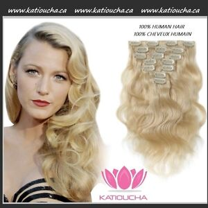 100% HUMAN HAIR/ Blonde body wave CLIP IN hair extensions, 7 pcs
