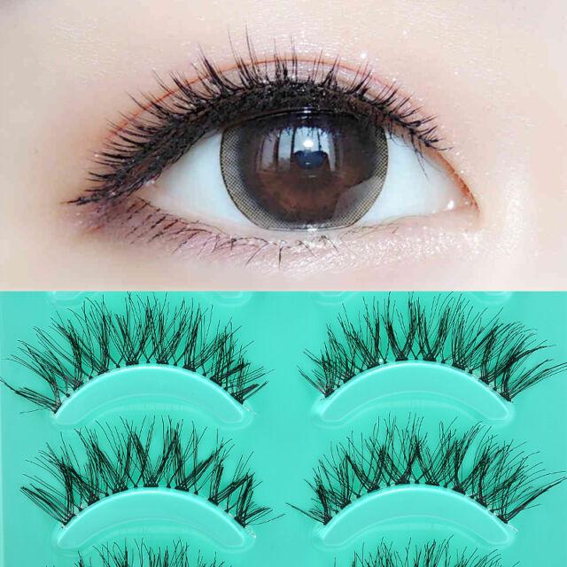 5 Pairs Lot Black Cross False Eyelashes Soft Long Makeup Fake Eye Lash Extension