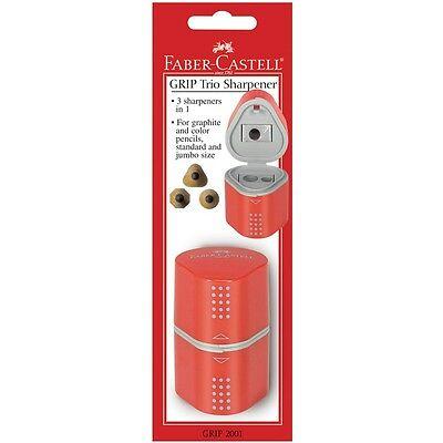 Faber-Castel 280175 GRIP Trio Pencil Sharpener-Red NEW