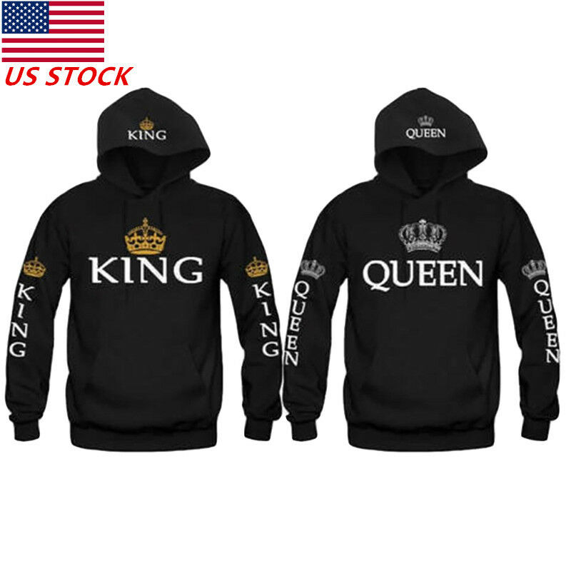 King &Queen Matching Couple Hoodies Love Matching His and He