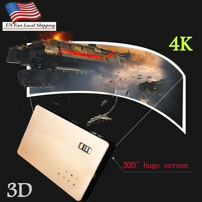 7100 Lumens HD 1080P 4K DLP Projector Home Theater Wifi 3D Cinema HDMI VGA Gifts