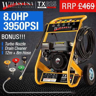 Petrol Pressure Washer - 8.0HP 3950psi AWESOME POWER TX625i WILKS USA