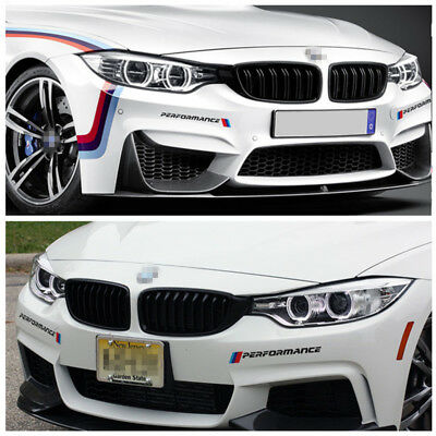 2pcs m performance front bumper stickers headlight decals for bmw f10 f20 f30