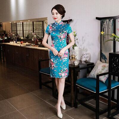 Chinese Traditional Mini Cheongsam Women Summer Silk Dress Prom Qipao S-6XL Chinese Silk Cheongsam Dress