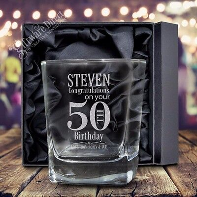 For sale Personalised Engraved Scotch Glass Birthday 18th 21st 40th Gift Whiskey Bourbon