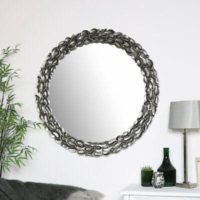 Grande Redondo Plata Hoja Espejo Decorativo Francés Adorno Elegante de Pared