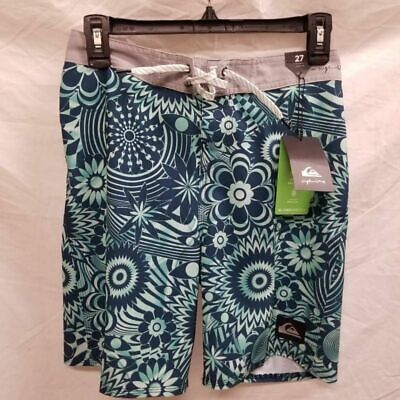 Quiksilver Boys Highline Expanded Mind Board Shorts Blue Floral Stretch 27 New