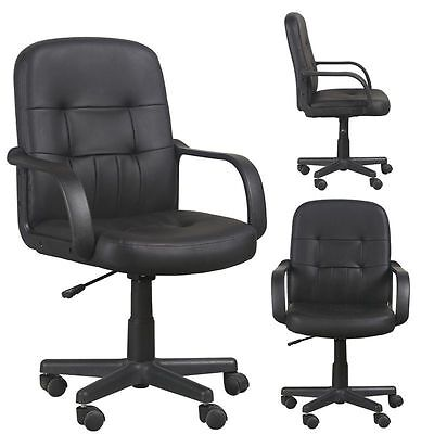 Swivel Mid Back Office Chair Faux Leather Black PC Computer Furniture