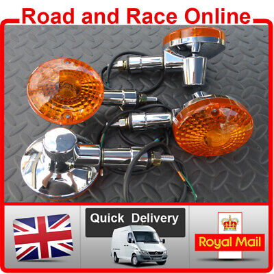 4 x Chrome Plated Pattern Front & Rear Motorcycle Indicators Good Quality Parts