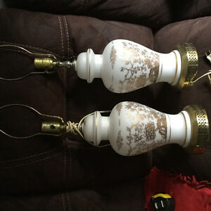 2 table lamps- white and gold