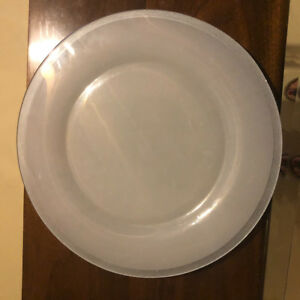 8  Black Dinner Plates and 8 glass chargers