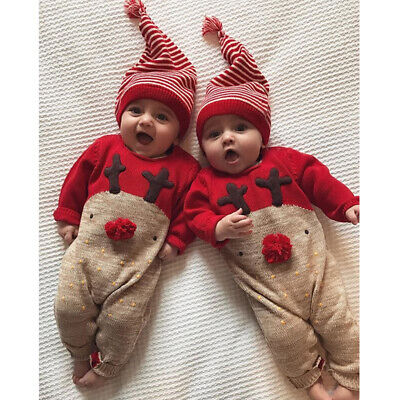 UK Newborn Baby Boys Girls Christmas Reindeer Romper Jumpsuit Clothes Outfit+Hat