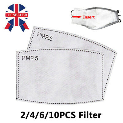 2/4/6/10PCS Activated Carbon Filter Fit Mouth Face Mask Replaceable 5Layer PM2.5