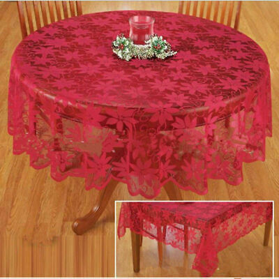 Christmas Table Cloth Red Lace Table Cover Wedding Holiday Room Decor US ()