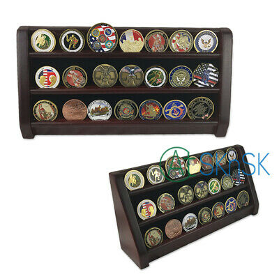 Wooden Display Cherry Finish Challenge Coin Rack Shelf 28 Coins Holder 16 Inch Challenge Coin Display Rack