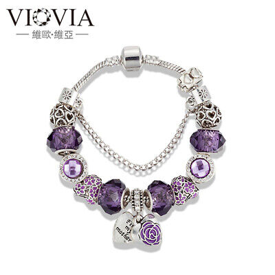 Heart crystal rose Enamel kind European Charms Bracelet purple mother's day Gift - Mother's Day Charms