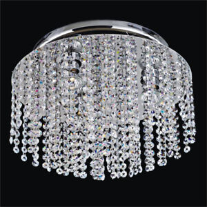 Chrome & Genuine Crystal Tiered Chandelier Ceiling Modern Light