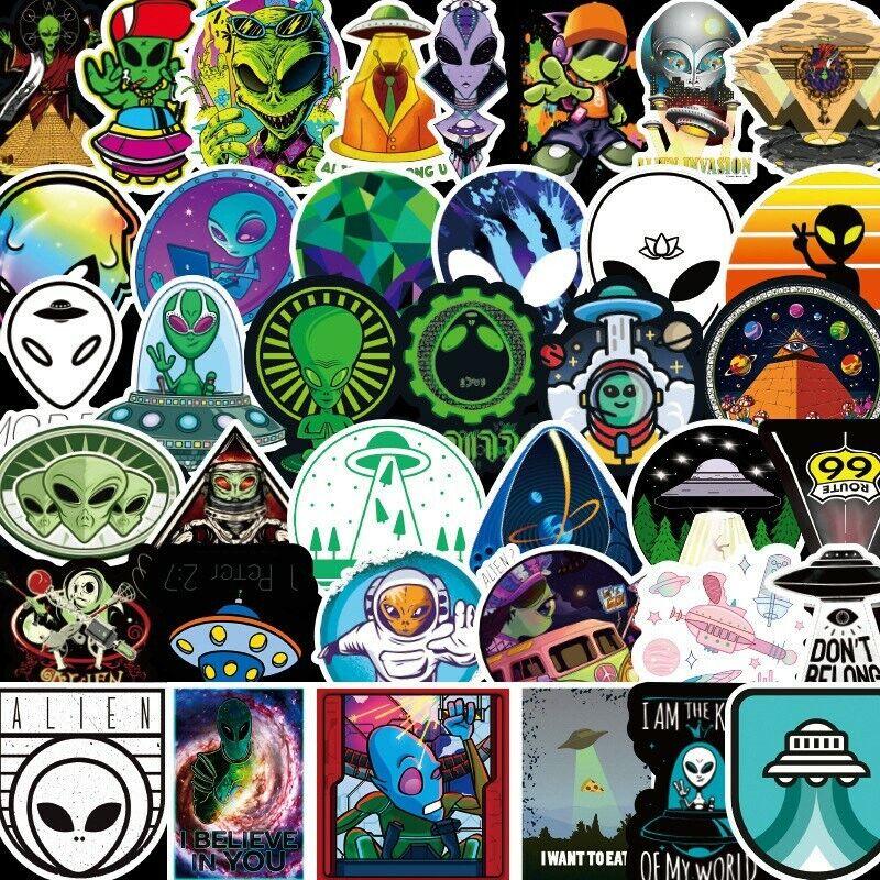Home Decoration - 50Pcs Space Alien UFO Astronaut Planet Stickers Skateboard Laptop Luggage Decals