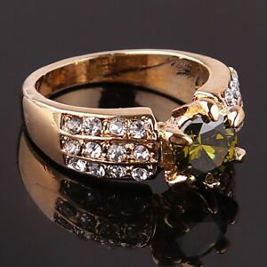 Womens 14k Gold Filled Green Austrian Crystal Ring Size 9 - New