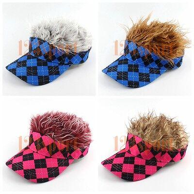 Craftsman Men Women Sports Baseball Golf Hat Cap Visor With Wig Hat Fake - Golf Visor With Hair