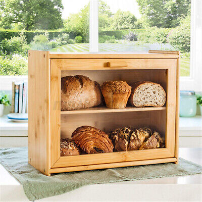 Large Natural Bamboo Wood Bread Box   BreadBox Clear Window for Kitchen Storage