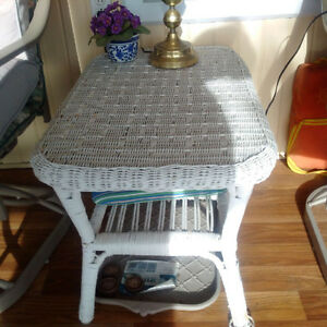 wicker coffee table, two end tables and book shelf Kingston Kingston Area image 1