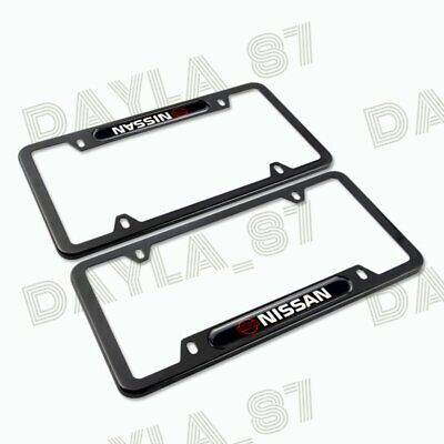 For NISSAN Black License Plate Frame Stainless Steel Metal New X2